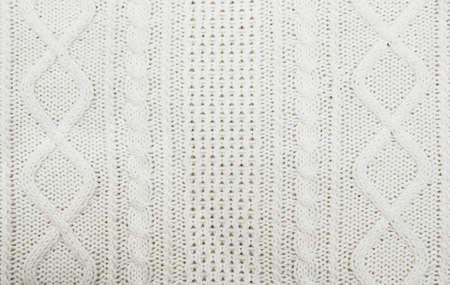 close knit: Beautiful white wool hand knit pattern - close up