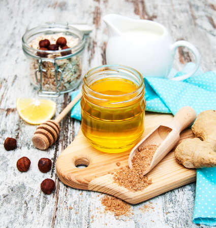 ingradient: Ingradient for a Healthy breakfast on a wooden background