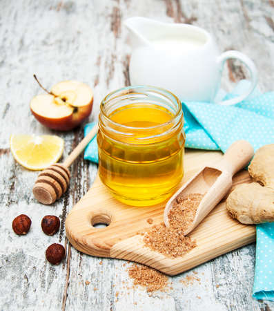 Ingradient for a Healthy breakfast on a wooden background photo