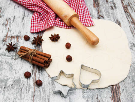 baking background cookie cutters and spices photo