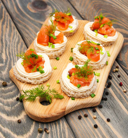 canape with salmon and dill for party