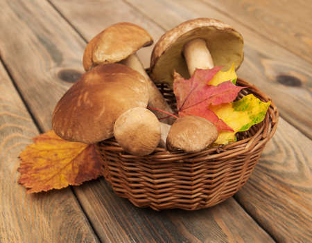 cepe: boletus mushrooms in a basket on a wooden background