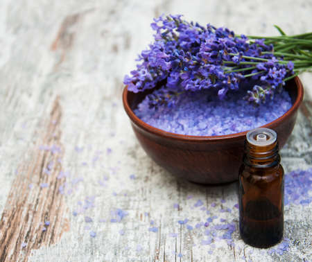 nature beauty: Lavender and  massage salt on a old wooden background