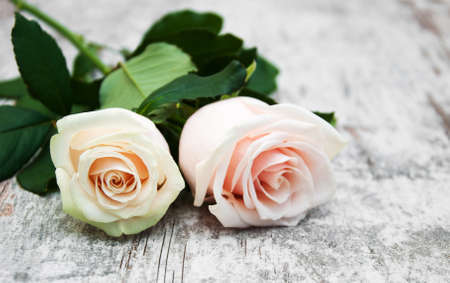 colores pasteles: Two Roses on a old wooden table