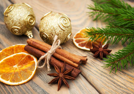 estrella: different kinds of spices  and dried oranges with christmas tree