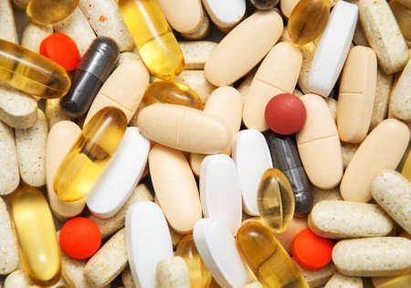 medicine pills: top view of the pills - background