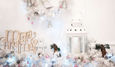 decorate: christmas and new year decorated interior with new year tree Stock Photo