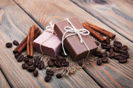 handmade: handmade coffee scented soap on wooden background