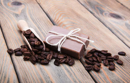 scented: handmade coffee scented soap on wooden background