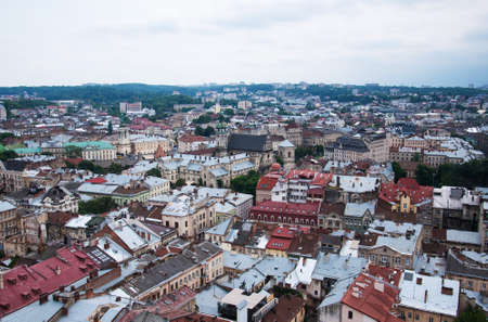 lvov: city of lvov ukraine - the top view on the old city of lvov from height Stock Photo