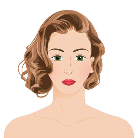 Woman face front view. Close-up portrait of a young attractive woman with brown wavy hair, isolated on white background. Beautiful short hair cut, green eyes. Make up, skincare, fashion model. Vektorgrafik