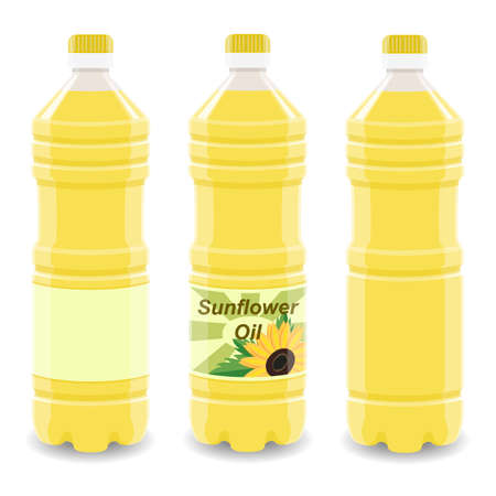 Sunflower oil plastic bottle with label mockup isolated on white background. Vegetable oil, cooking ingredients, organic product, healthy nutrition vector illustration. Layout for your brand.