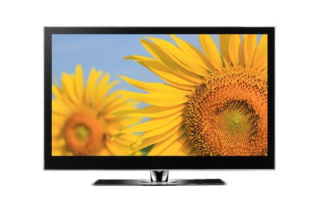 TV with sunflower on screen Stock Photo