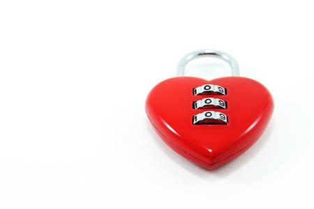 hart shaped: Red hart shaped lock  Stock Photo