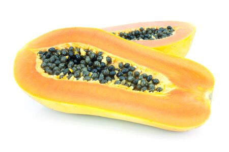 Ripe Papaya On White Background Stock Photo