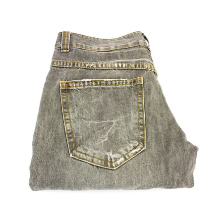 Old Jeans On White Background