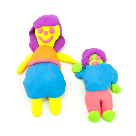 single mother: Plasticine Single Mother On White Background