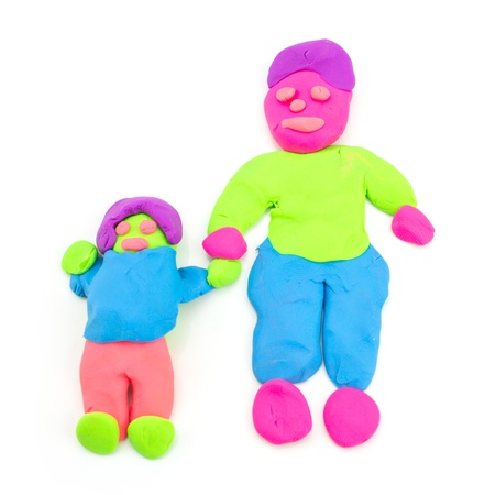 Plasticine Single Father On White Background