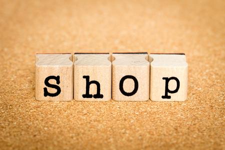 Shop - Alphabet Stamp Concepts Stock Photo