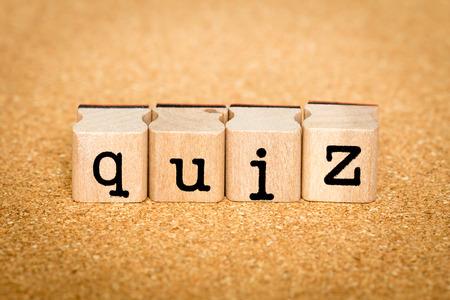 Quiz - Alphabet Stamp Concepts Stock Photo