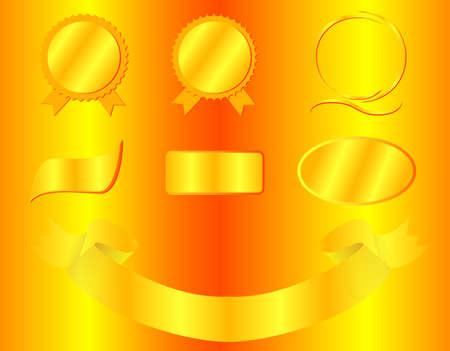 designer labels: golden labels and signs for designer