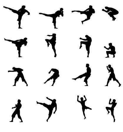 mixed martial arts: vectors of kick boxing pose isolated on white background