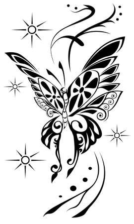butterfly tattoo: butterfly tattoo Illustration