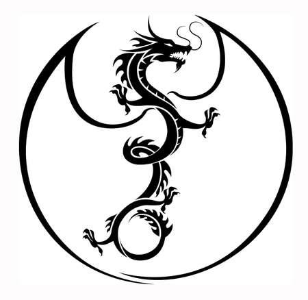 dragones: vector dragón en círculo ala