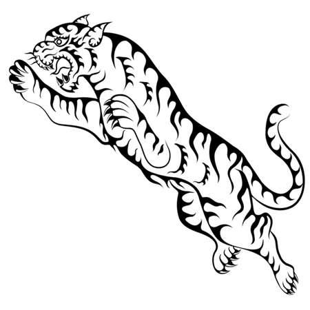 タイガーをジャンプ  イラスト・ベクター素材