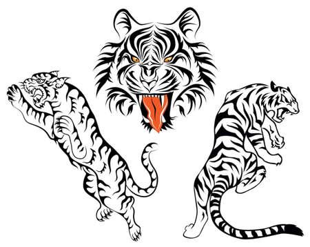 group of tiger Ilustracja