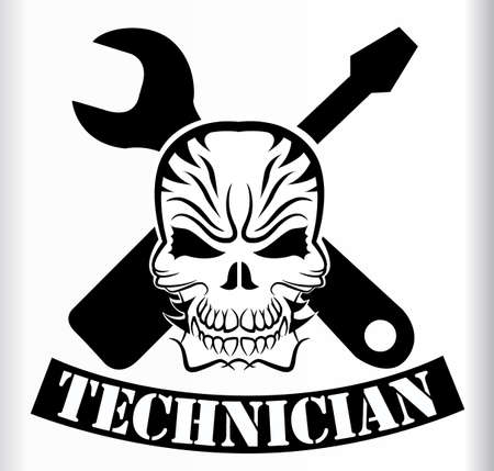 le signe ou un tatouage de tous les techniciens