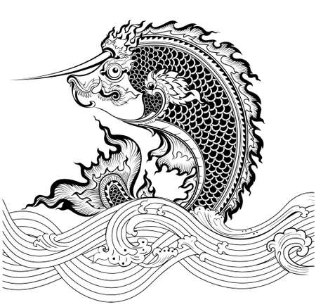 Thai Art Fish Vector
