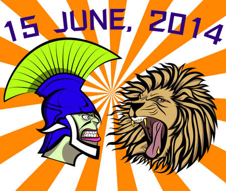 ROMAN ,ITALY AND ENGLAND, LION IN A TOURNAMENT Vector