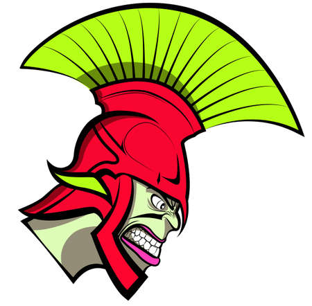 Cartoon Trojan or Spartan Vector Mascot with Headdress Vector