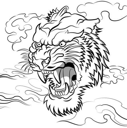 tiger head vector Vector