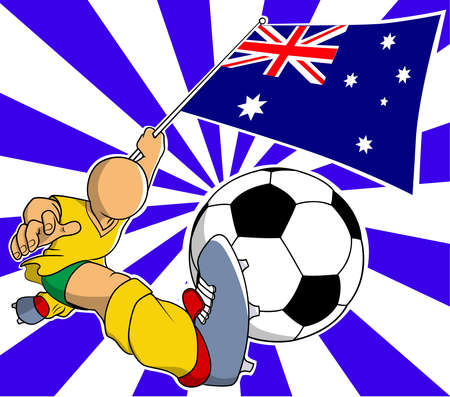 australia soccer player with flag and ball vector in eps10 Vector