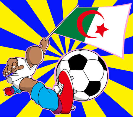 Aljazair  soccer player with flag and ball cartoon vector in eps10 Vector