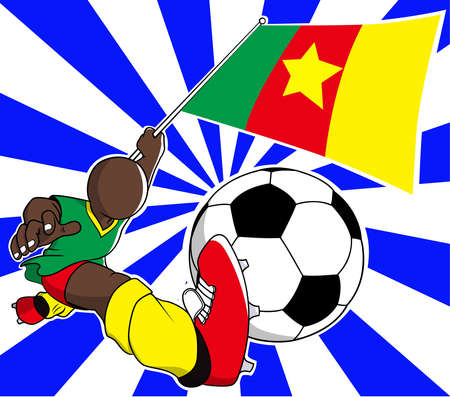 Cameroon  soccer player with flag and ball cartoon vector in eps10 Vector