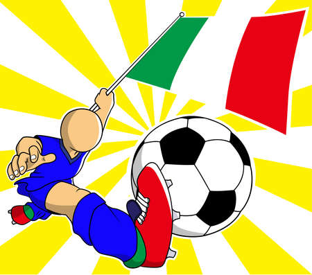 Italian  soccer player with flag and ball cartoon vector in eps10 Vector