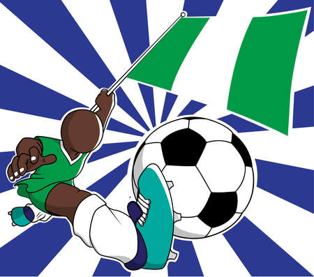 Nigeria  soccer player with flag and ball cartoon vector in eps10 Vector