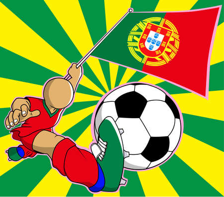 Portugal  soccer player with flag and ball cartoon vector in eps10 Vector
