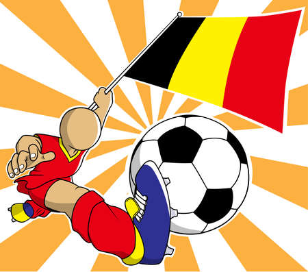 Belgium soccer player with flag and ball cartoon vector in eps10