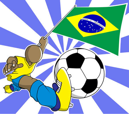 soccer coach: Brazil soccer player with flag and ball vector in eps10
