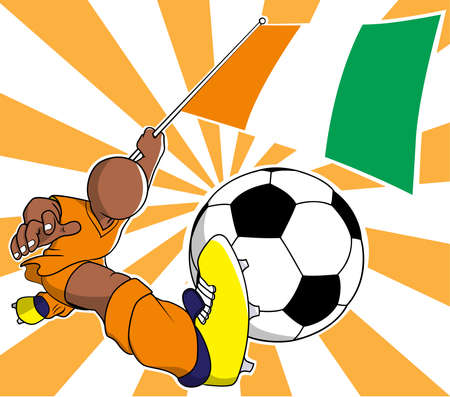 soccer coach:  Ivory coast soccer player with flag and ball cartoon vector in eps10