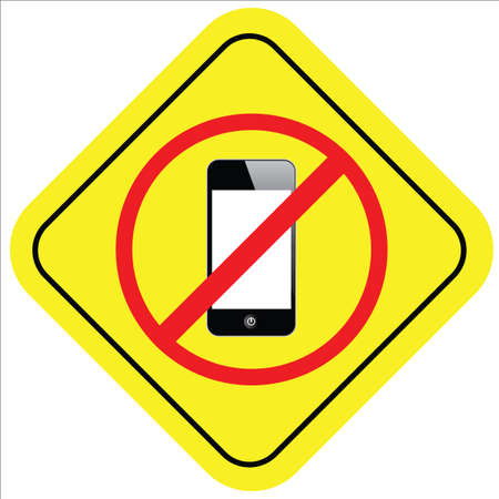 warning sign of no smart phone Vector