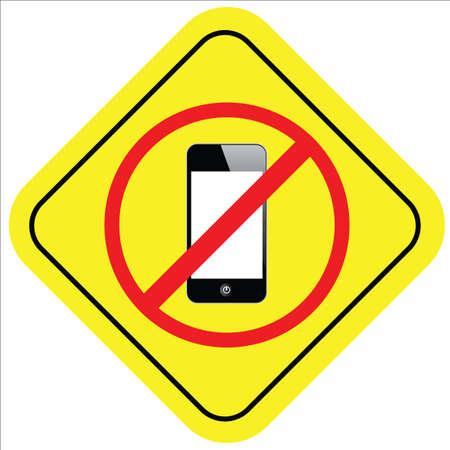 warning sign of no smart phone Vector