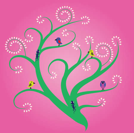 tree with flowers and animal Vector