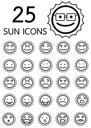 SUN EMOTIONS ICON Vector