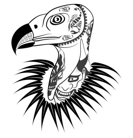 scavenging: Vulture head with tattoo