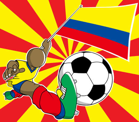 Colombia soccer player with flag and ball cartoon Vector Illustration